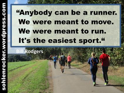 """Anybody can be a runner. We were meant to move. We were meant to run. It's the easiest sport."" Bill Rodgers [Bild: Unterwegs in Reken direkt nach dem Start des ersten Tages]."