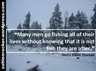 """""""Many men go fishing all of their lives without knowing that it is not fish they are after."""" Henry David Thoreau"""